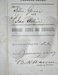 1877 Jan 22 Silas Goree and Ida Oslin Marriage Cert filed