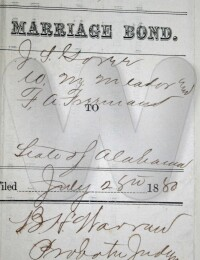 1880 Jul 28 Joseph S Goree Frances Hurst bond cover